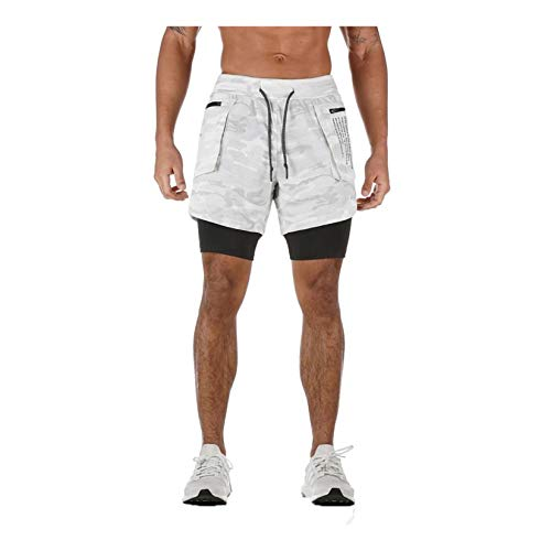 WZPG Pantalones Cortos para Correr, Deportes y Ocio 2-en-1 Pantalones Cortos de Doble Capa, Transpirables para Hombres y Entrenamiento de Secado rápido Fitness Pantalones de Cinco Puntos,Blanco,XL