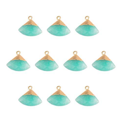 nbeads 10 pièces Pendentifs en Jade Naturel, Aigue-Marine Jade Triangle Pendentifs en Pierre avec des Résultats Dorés pour la Fabrication de Bijoux Bricolage, Trou: 1.8mm