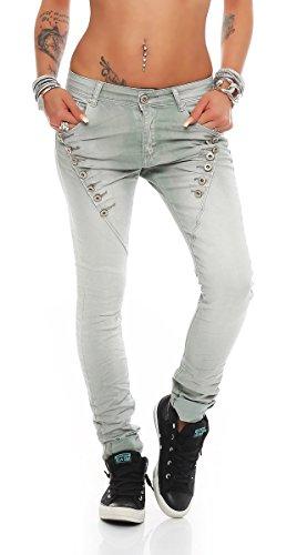 Fashion4Young 10826 MOZZAAR Damen Jeans Jeans Röhrenjeans Haremshose Damenjeans Hüftjeans Baggy (L=40, Grau)