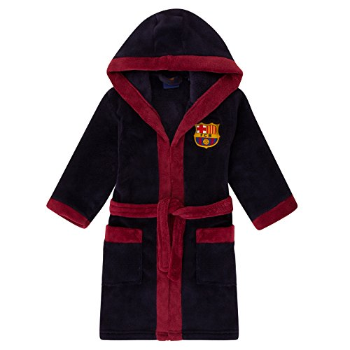 FC Barcelona - Robe de chambre à capuche thème football - polaire - garçon - bleu marine - 9-10 ans