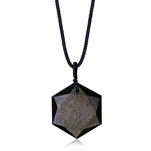 COAI Colgante Hexágono Estrella de David en Obsidiana Dorad