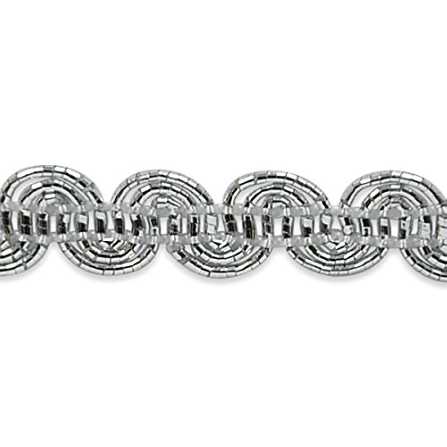 Expo International Pia Metallic Scroll Braid Trim Embellishment, 20-Yard, Silver