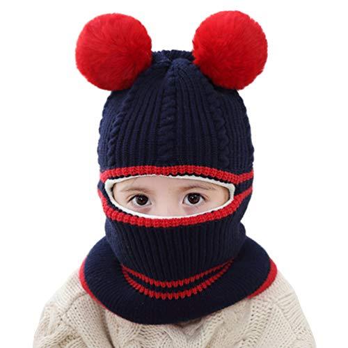 Ugitopi - Gorro de Invierno para bebé, niña, niño, Forro Polar, con Capucha de Punto Pom-Navy Talla única