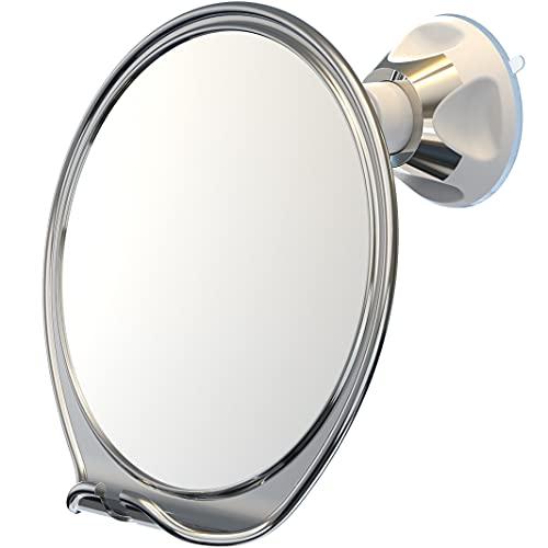 Luxo Rasierspiegel, Duschspiegel mit Rasierhalter zum Rasieren mit leistungsstarkem Saugnapf – bruchsicherer Anti-Beschlag-Spiegel für Dusche (Chrom)