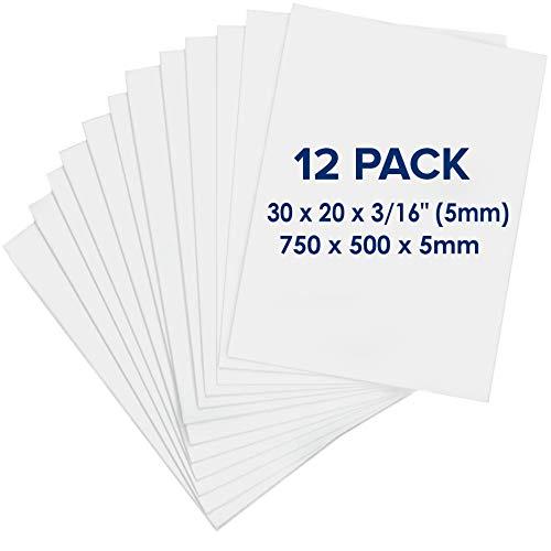 Carton Pluma (Foam Board) 750 x 500 x 5mm - 12 Unidades - Tablero Blanco de Espuma - Hoja de Gomaespuma Ligero para Artesanía, Enmarcar, Arte, Exposiciones, Presentaciones y Proyectos del Colegio