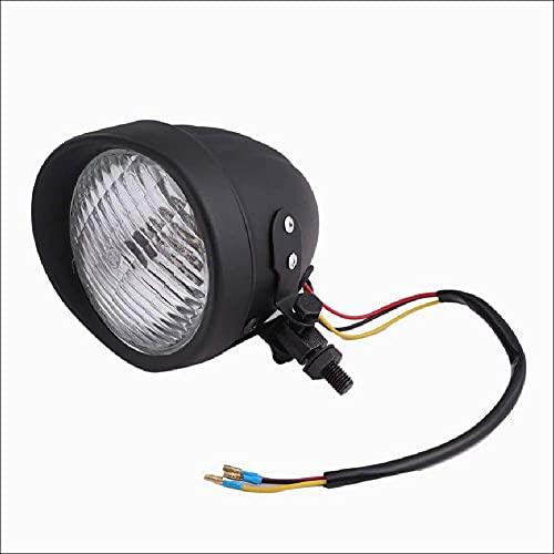 【Life Design Johnson】 4.5インチ ベーツライト ヘッドライト バイザー付 H4 スリットタイプ ノスタルジックスタイル ビンテージ バイク カスタムパーツ 汎用品 (ブラックボディ×クリアレンズ)