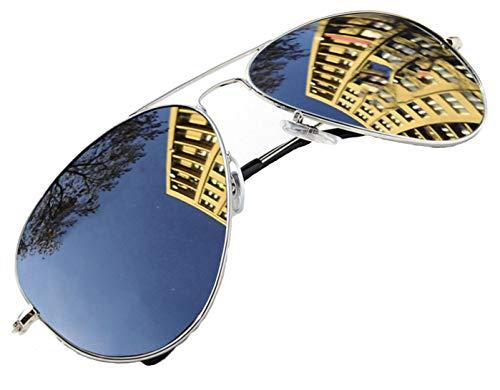 4sold Occhiali da Sole Uomo e Donna Vintage Retro Classici Specchiati Metallo Telaio Cardini (Silver)