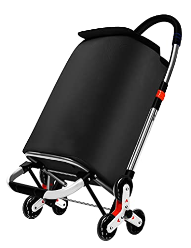 Carro para la compra plegable, sistema de 3 + 3 ruedas, para escalera, fabricado en aleación de aluminio con bolsa de robusto poliéster impermeable, color negro