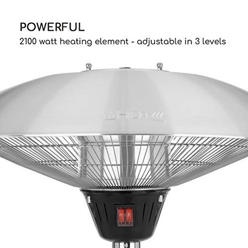 blumfeldt Heat Guard • Heizstrahler • Terrassen-Heizpilz • Standheizer • IP44 • 3 Stufen: 900, 1200 und 2100 W • höhenverstellbar • witterungsbeständig • Aluminium-Standfuß • 1.8 m Netzkabel • silber - 7