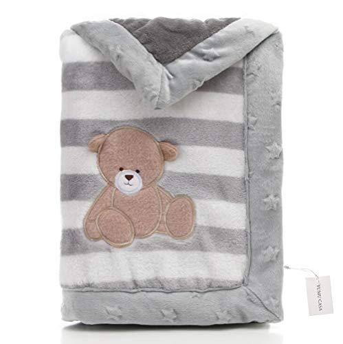 YUMU CASA Manta Gruesa de Franela para bebé de Doble Capa, Suave Manta de bebé diseño de Dibujos Animados para recién Nacidos, Franela, Gray Bear, 75 * 100cm/29.5 * 39.4 Inch