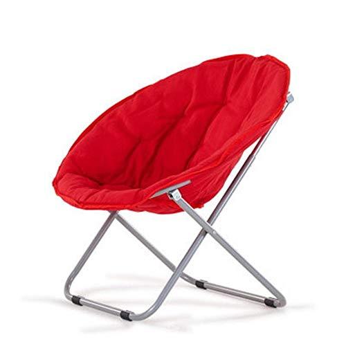 Sofá Lounge Moon Chair Sun Lounger Silla Plegable Individual Asiento Ajustable Jardín Exterior Camping para la Lectura de Juego de la TV (Color : Red, Size : 80 * 51 * 76cm)