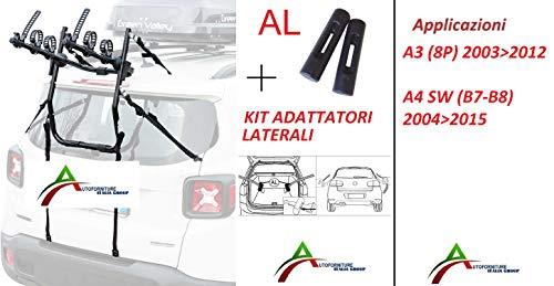 Portabicicletas ensamblado y listo para usar (3 bicicletas) para portón o maletero trasero con kit adaptadores laterales para coche específico para A3 (8P) 20032013 - A4 SW (B7-B8) 20042015