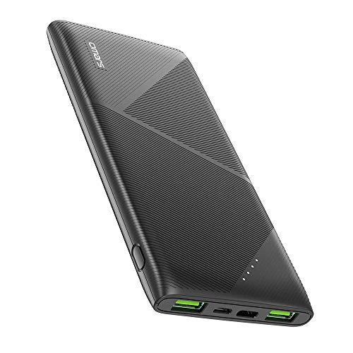 Omars 10000mAh Powerbank Externer Akku Super Slim 3 Ausgänge 2 Fast Charge USB A bis 12V Type C Power Delivery 18W für iPhone 6 7 8 X XR Samsung Galaxy S9 S8 S7 Huawei iPad 10000 Kompakt Power Bank