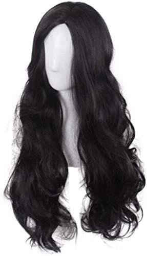 Peluca larga para niñas, color negro, peluca ondulada, para cosplay