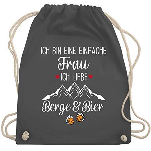 Shirtracer Après Ski - Ich bin eine einfache Frau, Ich liebe Berge und Bier - Unisize - Dunkelgrau - Bier - WM110 - Turnbeutel und Stoffbeutel aus Baumwolle