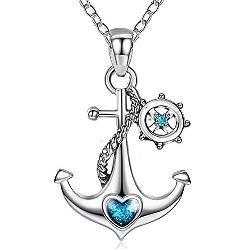 GOXO Anker Anhänger Sterling Silber Blau Ozean Herz Nautische Kette Halskette Schmuck für Damen Mädchen