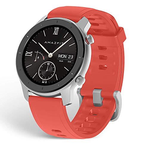 Amazfit GTR 42mm - Reloj Inteligente con frecuencia cardíaca y Seguimiento de Actividad, batería de Larga duración, Rojo