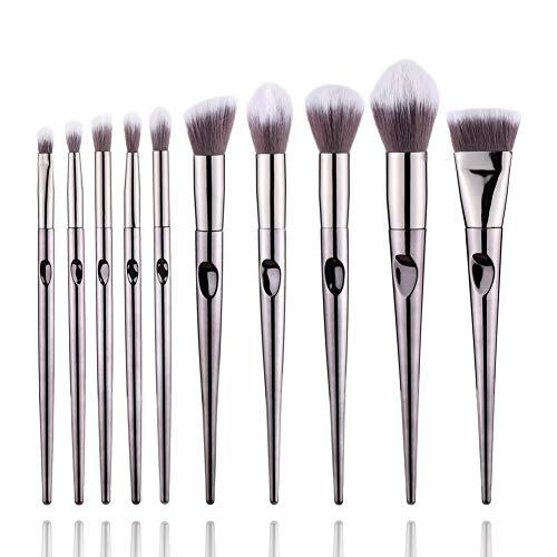 WETERS Pinceau De Maquillage Portatif, De Maquillage Professionnels pour Le MéLange De Fond De Teint Blush Correcteur D'Ombres à PaupièRes,Silver