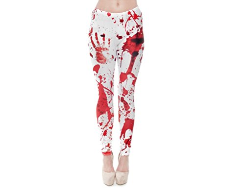 Hanessa Frauen Grusel Leggins Bedruckte Leggings Hose Frühling Sommer Kleidung Blut Blutspritzer L157
