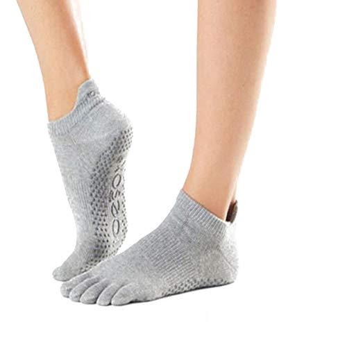 JUNSHUO Yoga Antideslizantes Traspirable,Cinco Calcetines de los Dedos,Calcetines antideslizantes de algodón, para pilates, yoga y ballet, talla Danza Gimnasio Deportes Artes Marciales,35-39 (gris)