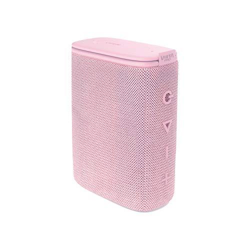 Altavoz Round Up 2 de Vieta Pro, con Bluetooth 5.0, True Wireless, Micrófono, Radio FM, 12 Horas de autonomía, Resistencia al Agua IPX7 y Entrada Auxiliar; Acabado en Color Rosa Palo.
