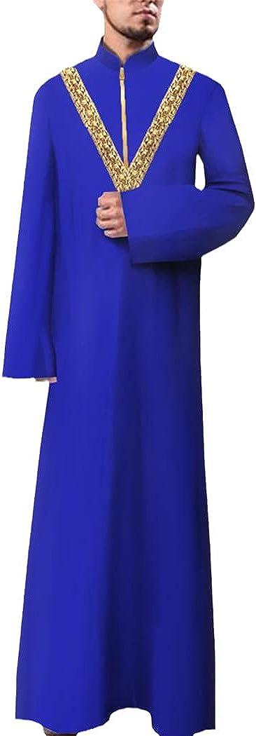 LOIUYBM Mens Jubba Thobe, Muslim Fashion Long Sleeve Robe, Saudi Arab Thobe Jubba, Middle East Islamic Kaftan