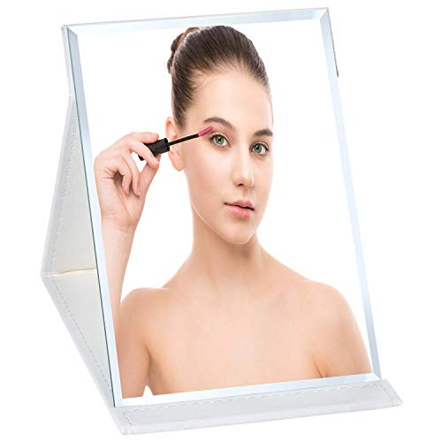 AHOOH Folding Portable Table Makeup Mirror,Standing Adjustable Vanity Mirror Travel for Women and Men