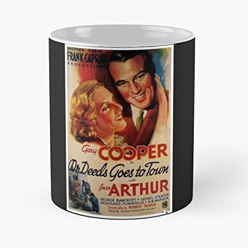 Deeds Goes Director Film Cinema Dvd Mr Town To Vhs Ray Blu Movie Best Mug holds hand 11oz made from White marble ceramic