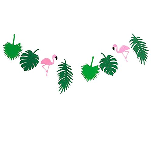 Wimagic 1x Bunting Banners Creative Rainforest Flamingo Style Party Flags Garland Kids Birthday Party Hanging Decoration for Living Room Children Room Garden (Style 2)