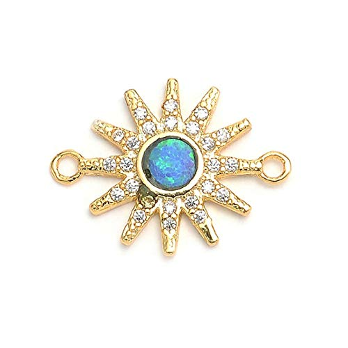 AMINIY Fashion Blue Fire Opal Charm Copper Micro Pavé Zircon Sun Charm Connector For Bracelet Jewelry Making (Color : Gold)