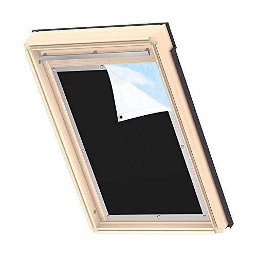 MUHOO Estor Opaco Térmico para Ventana de Techo Velux, Protección Solar Térmica para Ventanas de Techo con Ventosa sin Taladrar, Negro, 60 x 115cm
