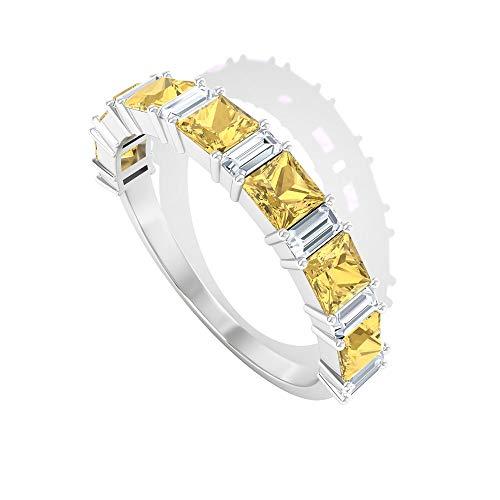Anillo de diamante de corte princesa de 0,77 ct, anillo de boda de diamante certificado SGL de 0,4 ct, forma de baguette, anillo de claridad de color IJ-SI, 14K Oro rosa, Size:EU 57