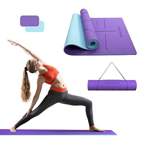 Esterilla Yoga, Esterillas Yoga Ecológicas TPE con correa Transporte, Gruesas Esterillas Fitness, Esterilla con líneas alineación, Esteras Antideslizantes para Yoga Pilates Gimnasia Entrenamiento