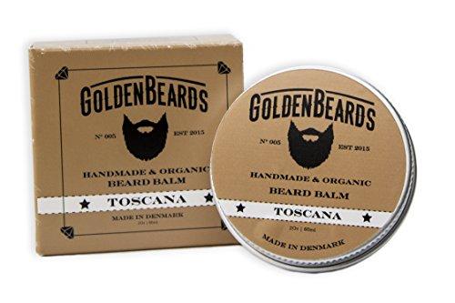 Bio Bart Balsam Toscana 60ML 100% Natürlich Jojoba & Argan & Ingwer & Wacholder.Befeuchten Sie Ihren Bart und Ihre Haut,das beste Weichspülerprodukt und den perfekten Bartgeschenkset oder Bartkit.