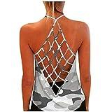 YCZCO Camiseta de tirantes para mujer con estampado moderno y sin mangas, camiseta deportiva para yoga, espalda descubierta, para correr, fitness, etc. c M