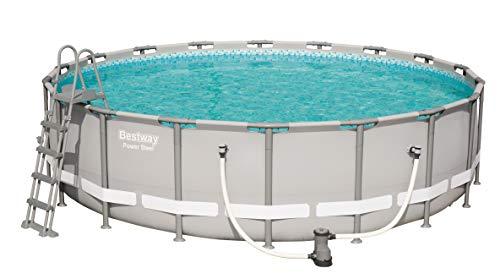 Bestway Power Steel, Frame Pool rund im praktischen Komplett Set, 549x549x132 cm