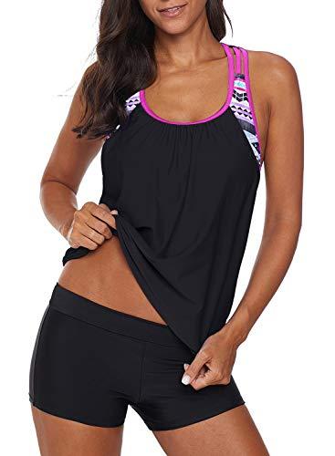 Women's Blouson Floral T-Back Push Up Tankini Top Halter Padded Slimming Swimsuit Sporty Swimwear Rose Plus Size X-Large 14 16
