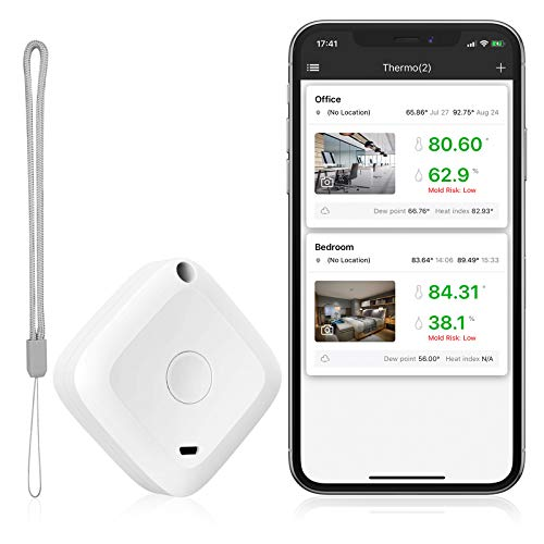 ORIA Bluetooth Thermometer Hygrometer, Innen Thermo-Hygrometer mit APP, Hohe Präzision Mini Thermometer Hygrometer mit Datenerfassung & Ausgabe, für Gitarrenkoffer, Büro, Gewächshaus, Keller