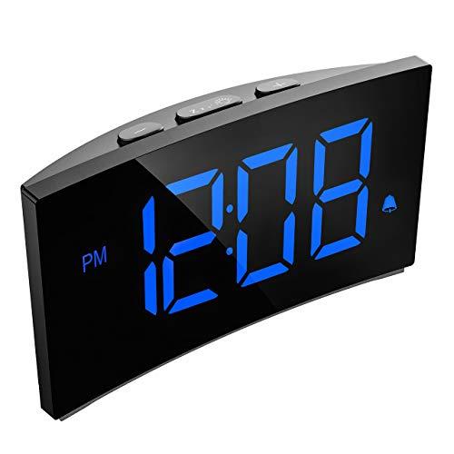 Holife Sveglia Digitale, Sveglia da Comodino, 5 Pollici Sveglia con Grande Schermo Curvo e Senza Bordi, Sistema a 12 Ore o 24 Ore, Funzione di Snooze (Adattatore Non Incluso) (Azzurro/Blu)