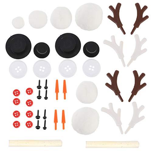 Supvox Kit de Decoración de Muñeco de Nieve Navideño de 46 Piezas con Mini Sombreros de Copa Negros Botones Narices de Zanahoria Ojos de Juguete Cuerno de Reno para Manualidades