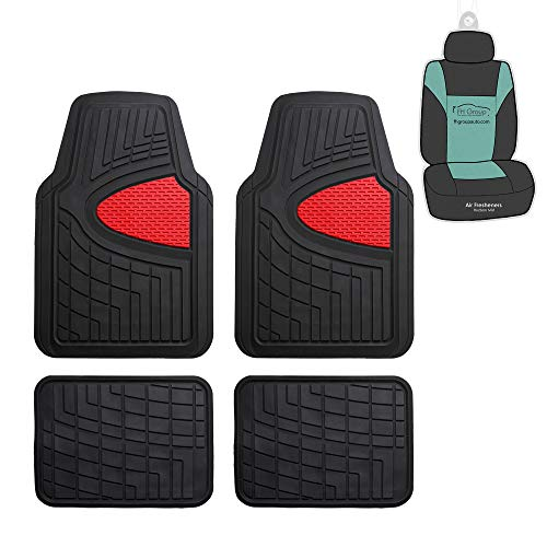 FH Group F11311 Premium Tall Trimmable Channel Rubber Floor Mats (Red) Full Set with Gift - Universal Fit for Cars Trucks and SUVs