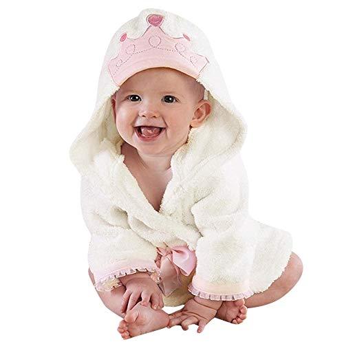 MRULIC Baby Jungen Mädchen Reizender Bademantel Krone Gedrucktes mit Kapuze Handtuch Pyjamas Nachtwäsche Beschichtet(Weiß,4-5 Jahre)