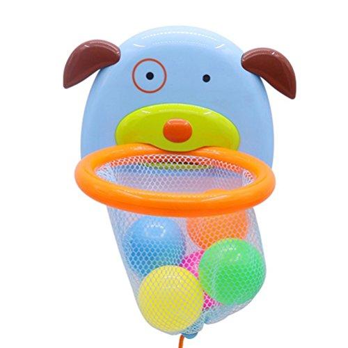YeahiBaby Baloncesto Dunker Juguetes para el baño - Cesta con forma de perrito - 5 bolas, tiempo del baño Juego de Disparos