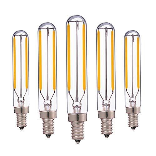 Bombilla de filamento LED tubular de 2 vatios,T20/T6 Edison LED colgante largo 20w Reemplazo incandescente blanco cálido 2700K base de candelabros vintage E14 no regulable paquete de 5