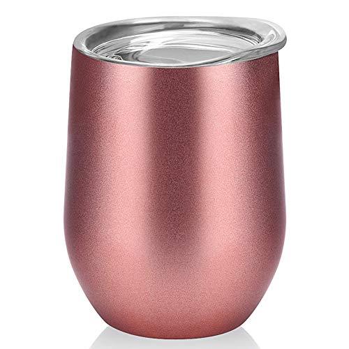 swonuk Taza Café Reutilizable de Acero Inoxidable, Taza Personalizada con Tapa, Taza de Térmica para Café, Vino, Cóctel, Champán, Bebidas Frías y Calientes