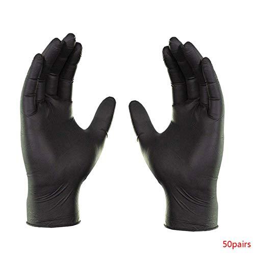 50 paar / set wegwerp antislip handschoen food grade wegwerphandschoenen moestuin gereedschap waterdicht nitril slijtvaste handschoenen, zwart, s