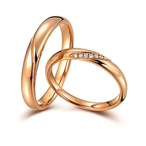 Daesar Anillos Oro Rosa 18 Kilates Mujer Hombre Oro Rosa Anillos Redondo Pulido con Diamante Blanco 0.036ct Talla Mujer 16 & Hombre 21