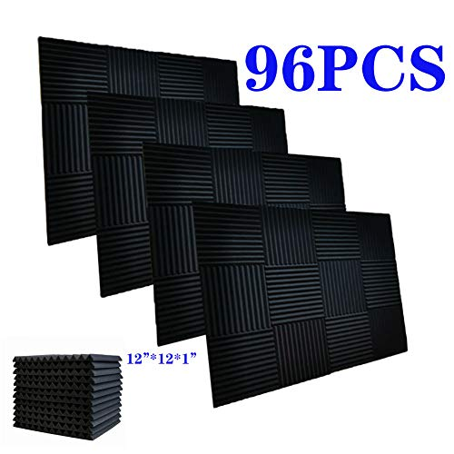 """96 Pack Acoustic Panels Soundproof Foam for Walls Sound Absorbing Panels Soundproofing Panels Wedge for Home Studio Ceiling, 1"""" X 12"""" X 12"""", Black (96PACK, BLACK)"""