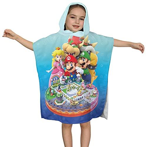 LIJUNQI Super Mario - Telo mare per bambini con cappuccio, asciugamano poncho, asciugamano da bagno,...