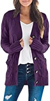 ZESICA Women's Casual Long Sleeve Button Down Open Front Cable Knit Cardigan Sweater Coat with Pockets